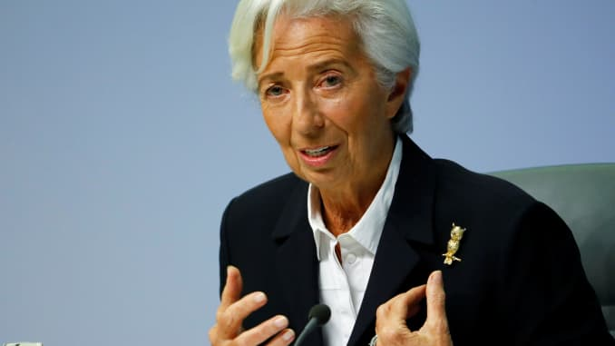 European Central Bank (ECB) President Christine Lagarde addresses a news conference on the outcome of the meeting of the Governing Council in Frankfurt, Germany, January 23, 2020.