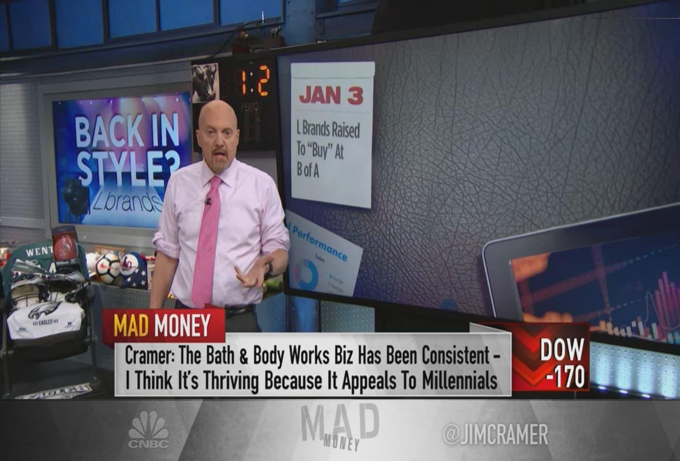 Four analysts turned bullish on Victoria's Secret-parent L Brands. Jim Cramer isn't buying it, yet