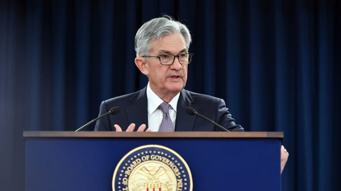 Federal Reserve Board Chairman Jerome Powell speaks during a press conference following the January 28-29 Federal Open Market Committee meeting, in Washington, DC on January 29, 2020.