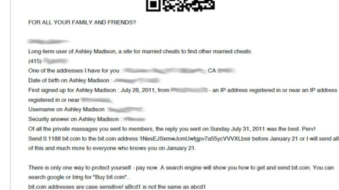 SCREENSHOT ashley madison scam email