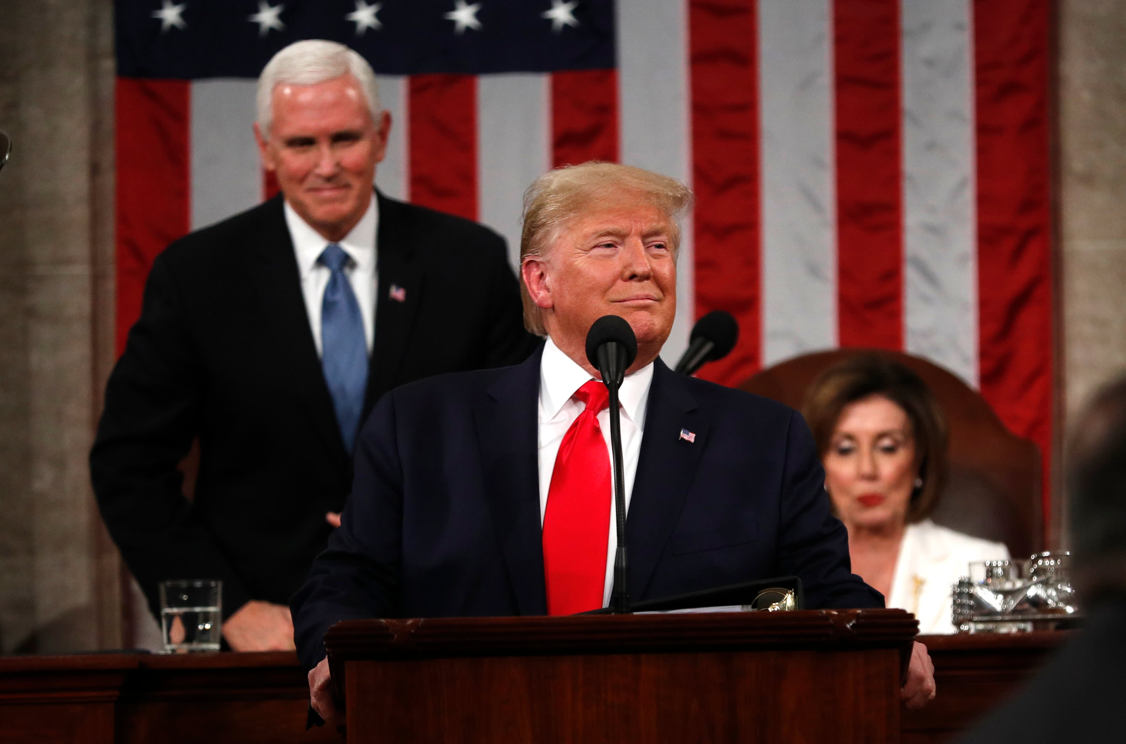 Image result for Trump snubs Pelosi, she tears up his speech as impeachment trial nears end