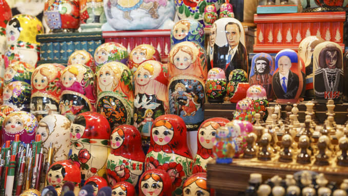 Premium: Matryoshka dolls and other souvenirs in the Central Market, Budapest, Hungary.