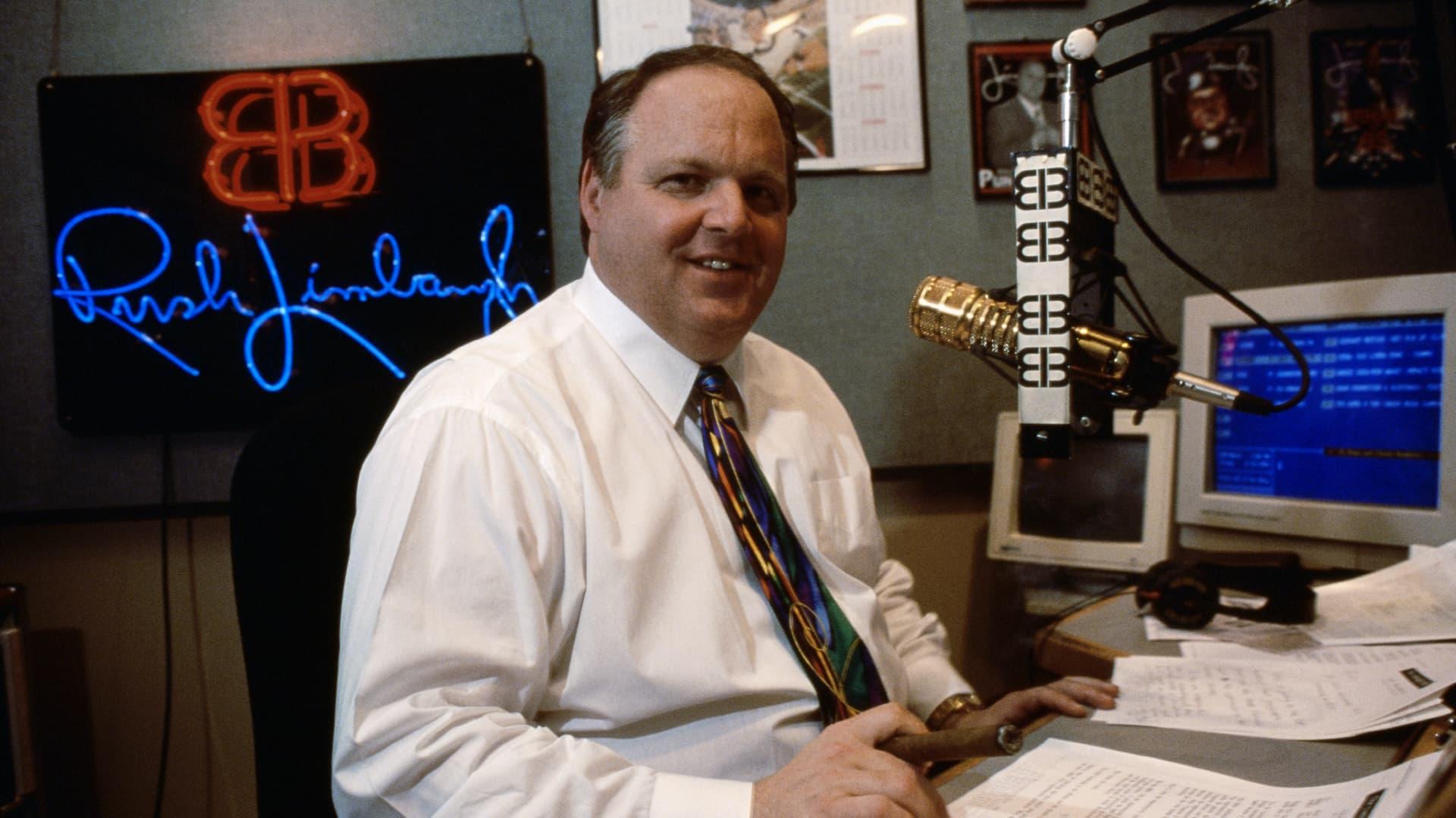 Rush Limbaugh in his radio studio in 1995.