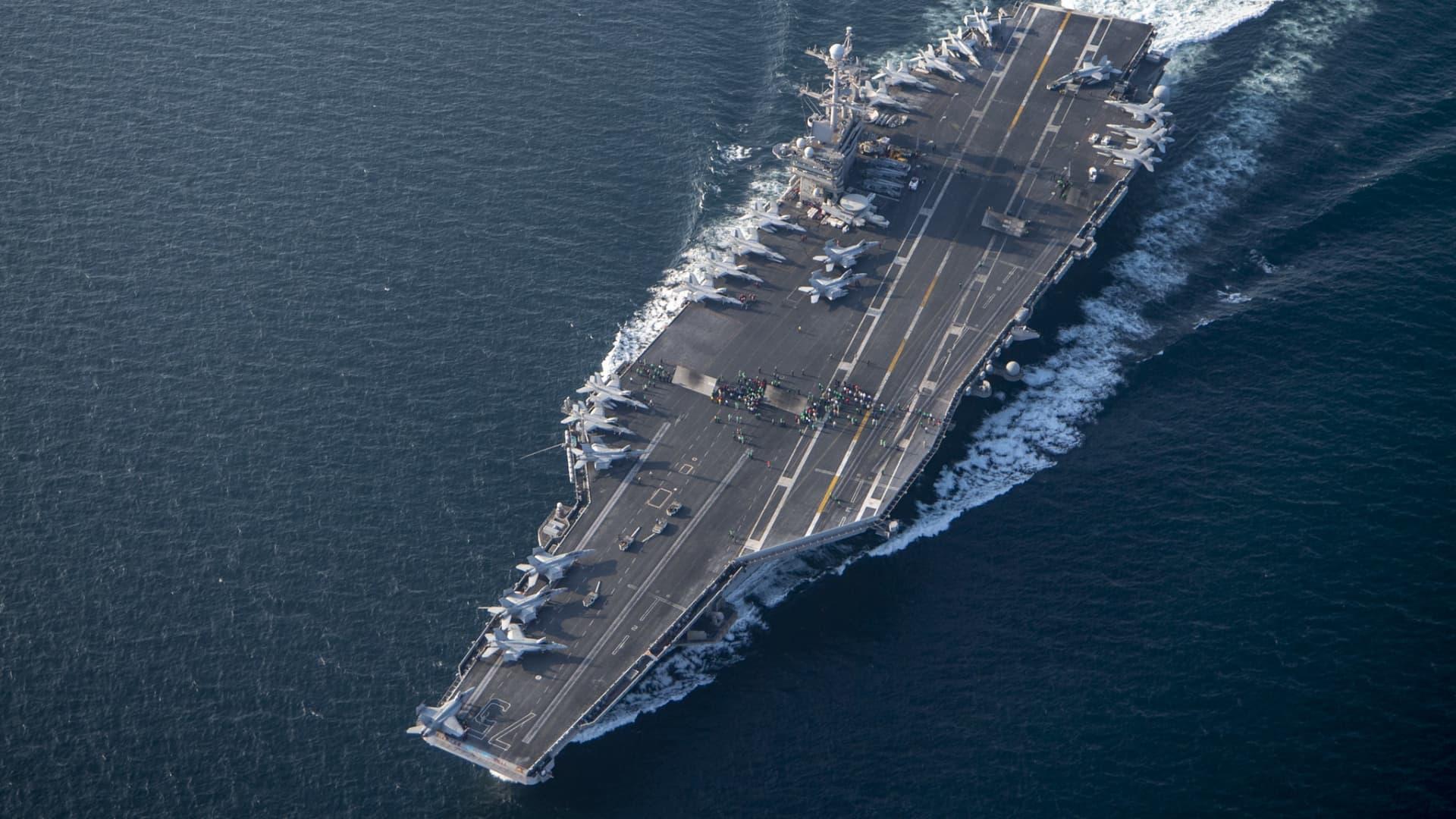 The aircraft carrier USS Harry Truman transits the Arabian Sea, Jan. 31, 2020.