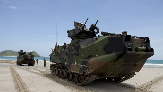 U.S. Marines with the 3rd Marine Division, III Marine Expeditionary Force position their assault amphibious vehicles on the beach during an amphibious raid exercise with Royal Thai Marines at Hat Yao, Thailand, on June 10, 2013.