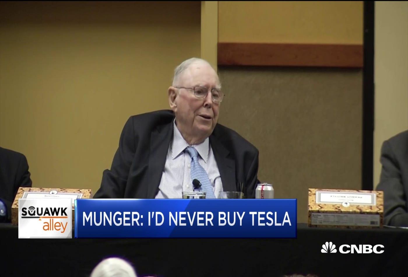 Berkshire Hathaway's Charlie Munger: I'd never buy Tesla