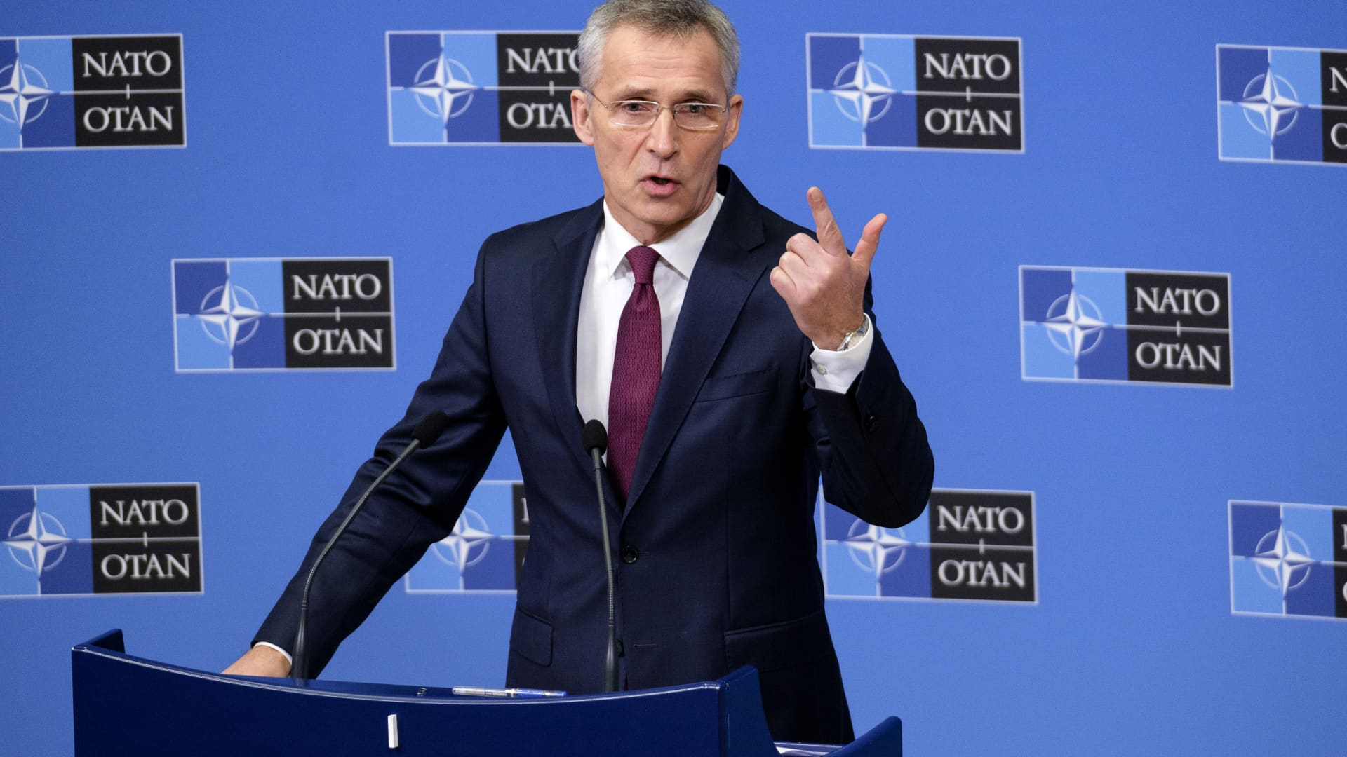Jens Stoltenberg, 13th Secretary General of the North Atlantic Treaty Organization, is talks to the media at the NATO headquarter on February 11, 2020 in Brussels, Belgium.