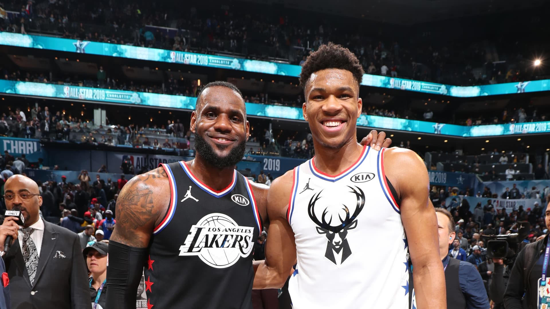 LeBron James of Team LeBron and Giannis Antetokounmpo of Team Giannis pose for a photo after the 2019 NBA All-Star Game