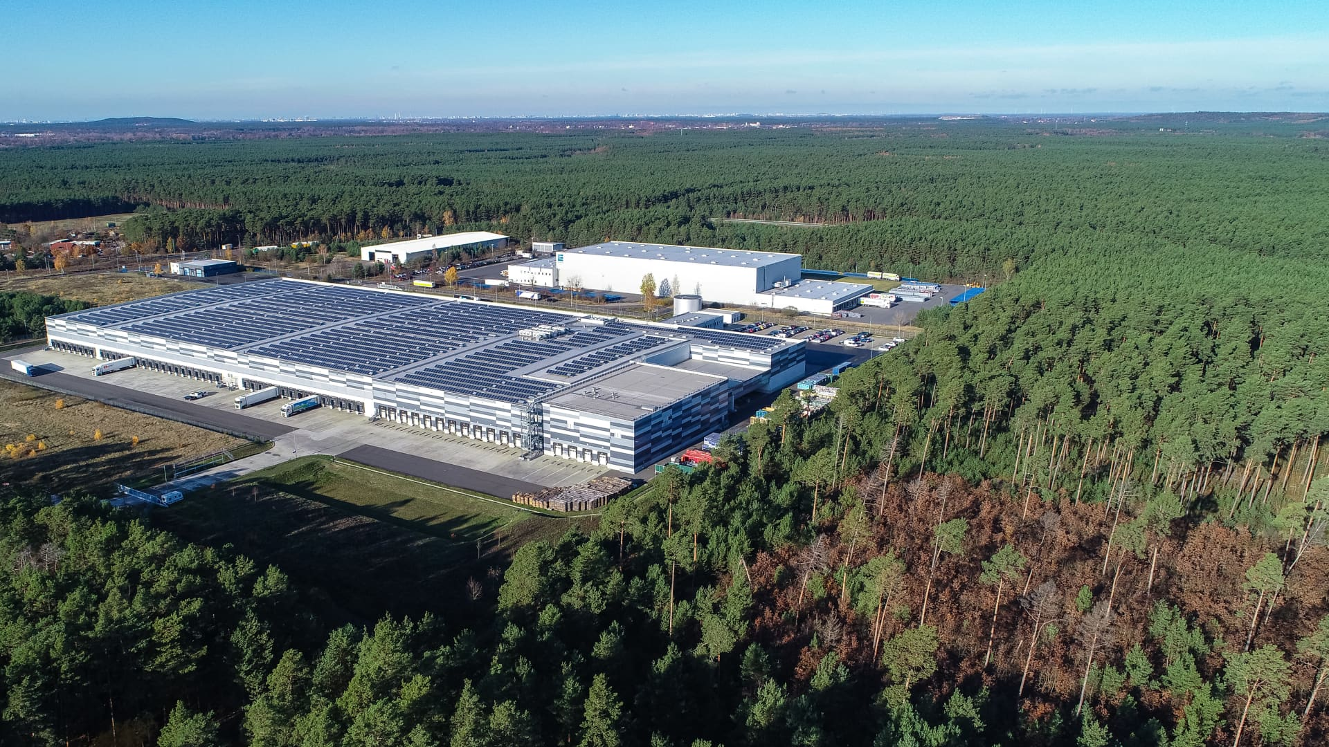 The freight traffic center in the Gruenheide region east of Berlin. Tesla plans to build its new European Gigafactory in a huge forest nearby.