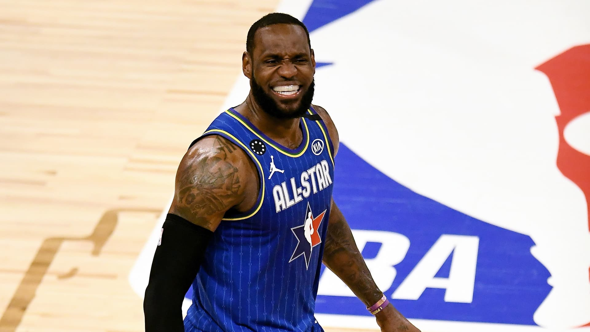 LeBron James #2 of Team LeBron celebrates after beating Team Giannis during the 69th NBA All-Star Game at the United Center on February 16, 2020 in Chicago, Illinois.