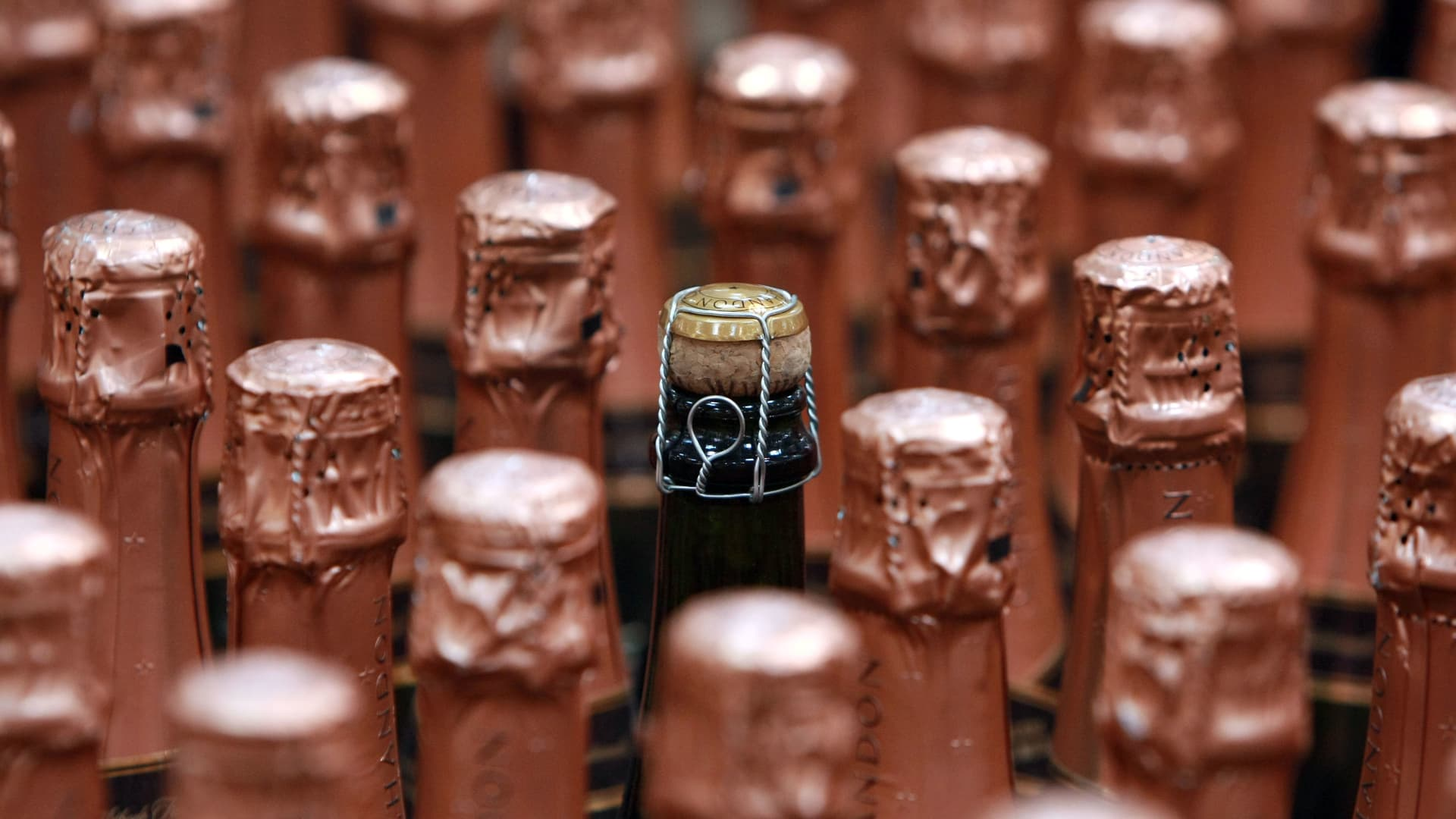 Bottles of sparkling wine are seen in San Francisco, California.