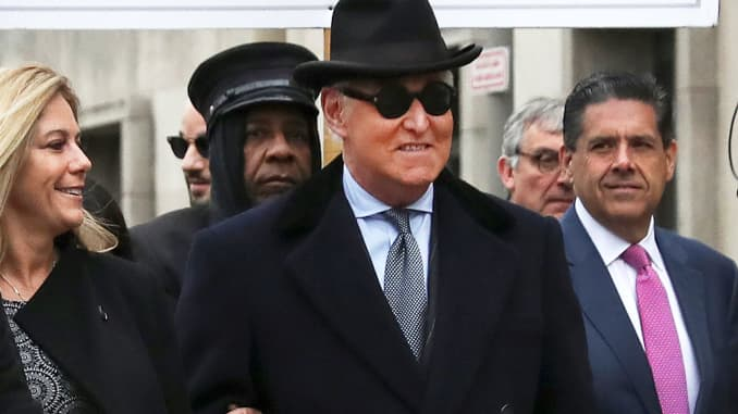 Roger Stone, former campaign adviser to U.S. President Donald Trump, arrives at the federal courthouse where he is set to be sentenced, in Washington, U.S., February 20, 2020.