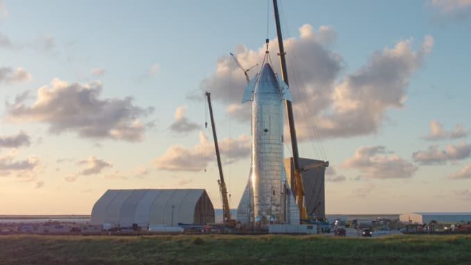 SpaceX's first Starship prototype under construction near Boca Chica, Texas in 2019.