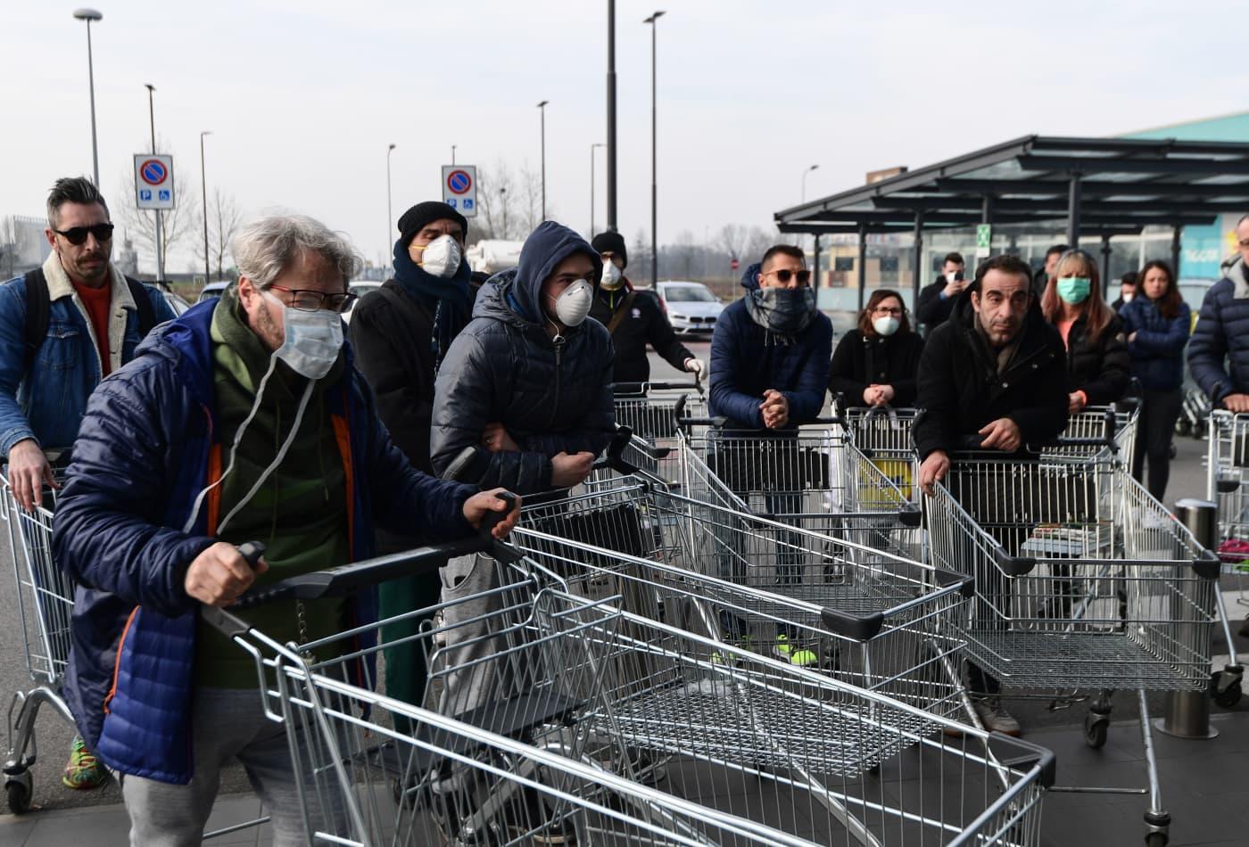 Italian stocks plunge 5.5% as coronavirus shuts down towns, schools and soccer matches