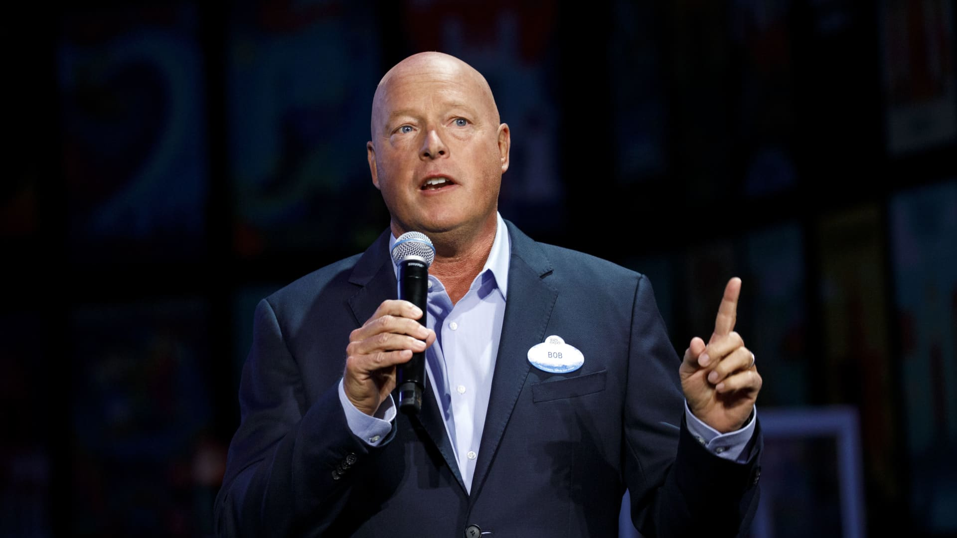 Bob Chapek, CEO of the Walt Disney Company and former head of Walt Disney Parks and Experiences, speaks during a media preview of the D23 Expo 2019 in Anaheim, California, Aug. 22, 2019.