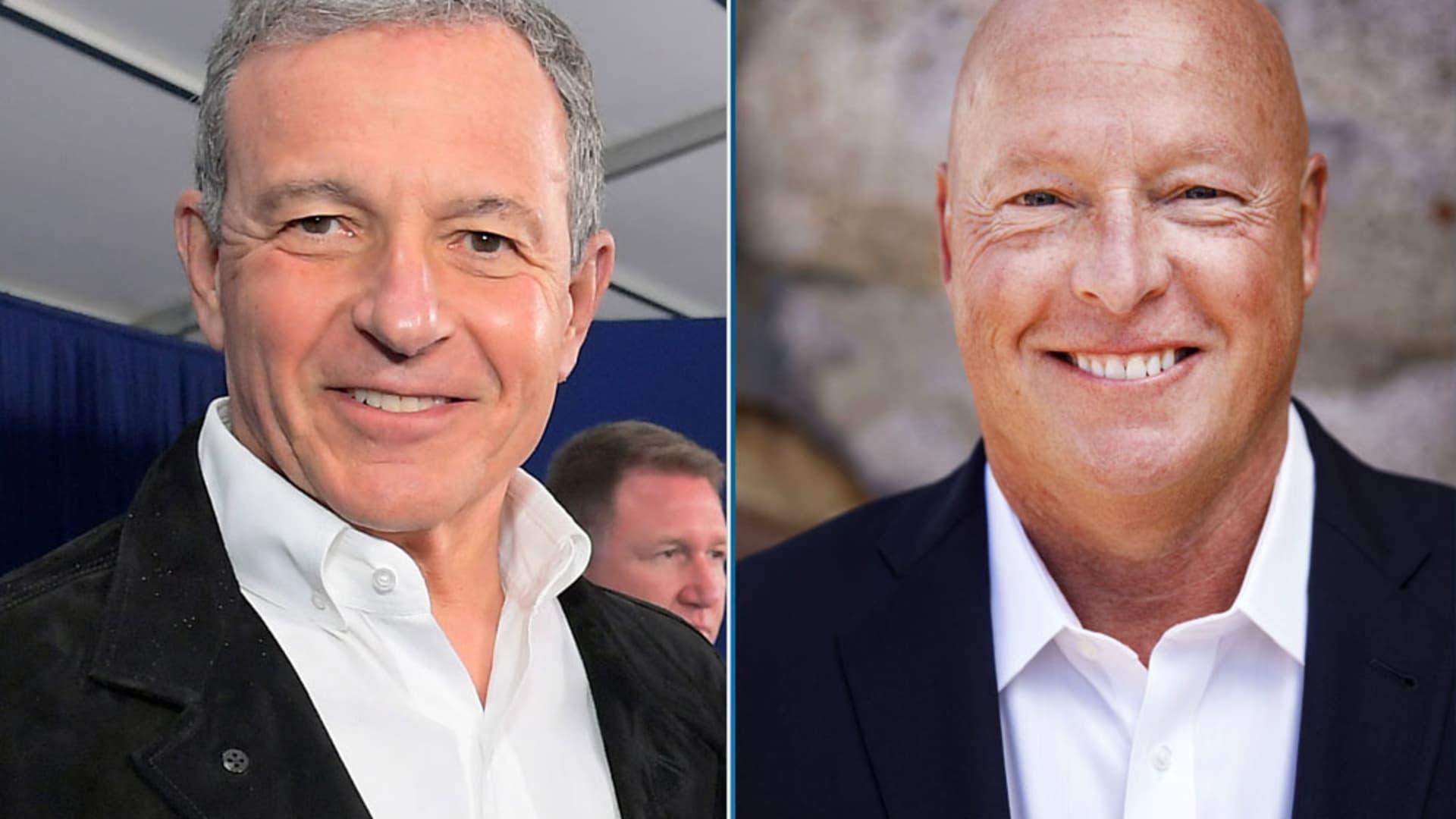 Bob Iger, left, and Bob Chapek of Disney