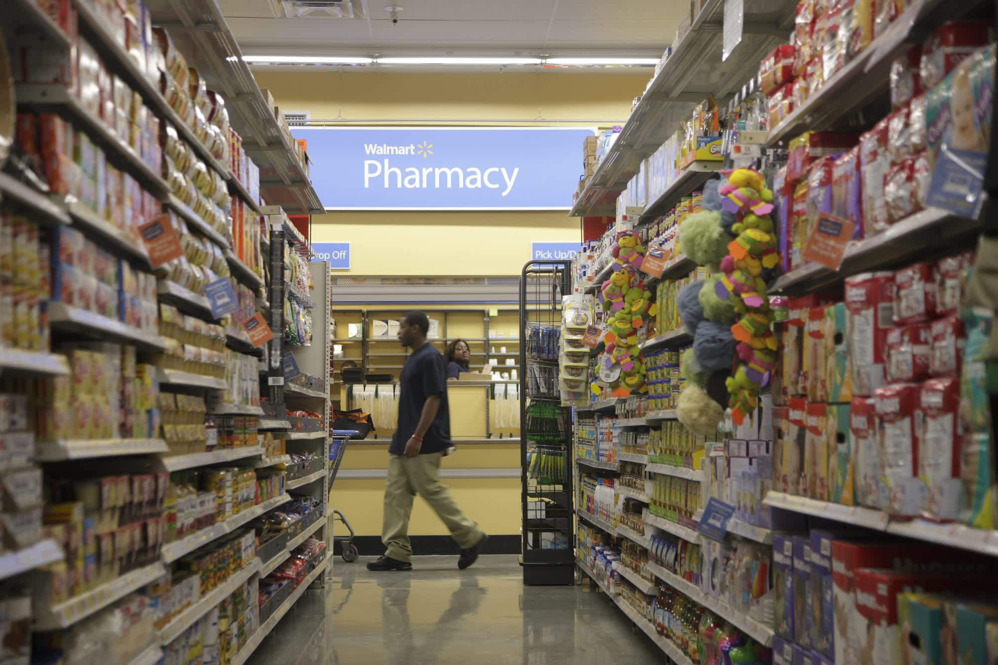 Walmart's shares up as coronavirus rattles Wall Street