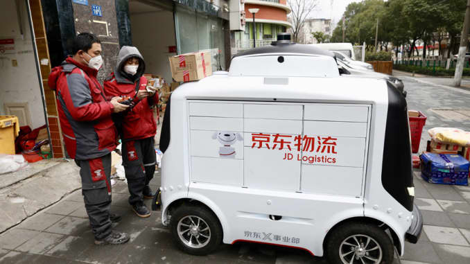 JD Logistics autonomous delivery robot in China