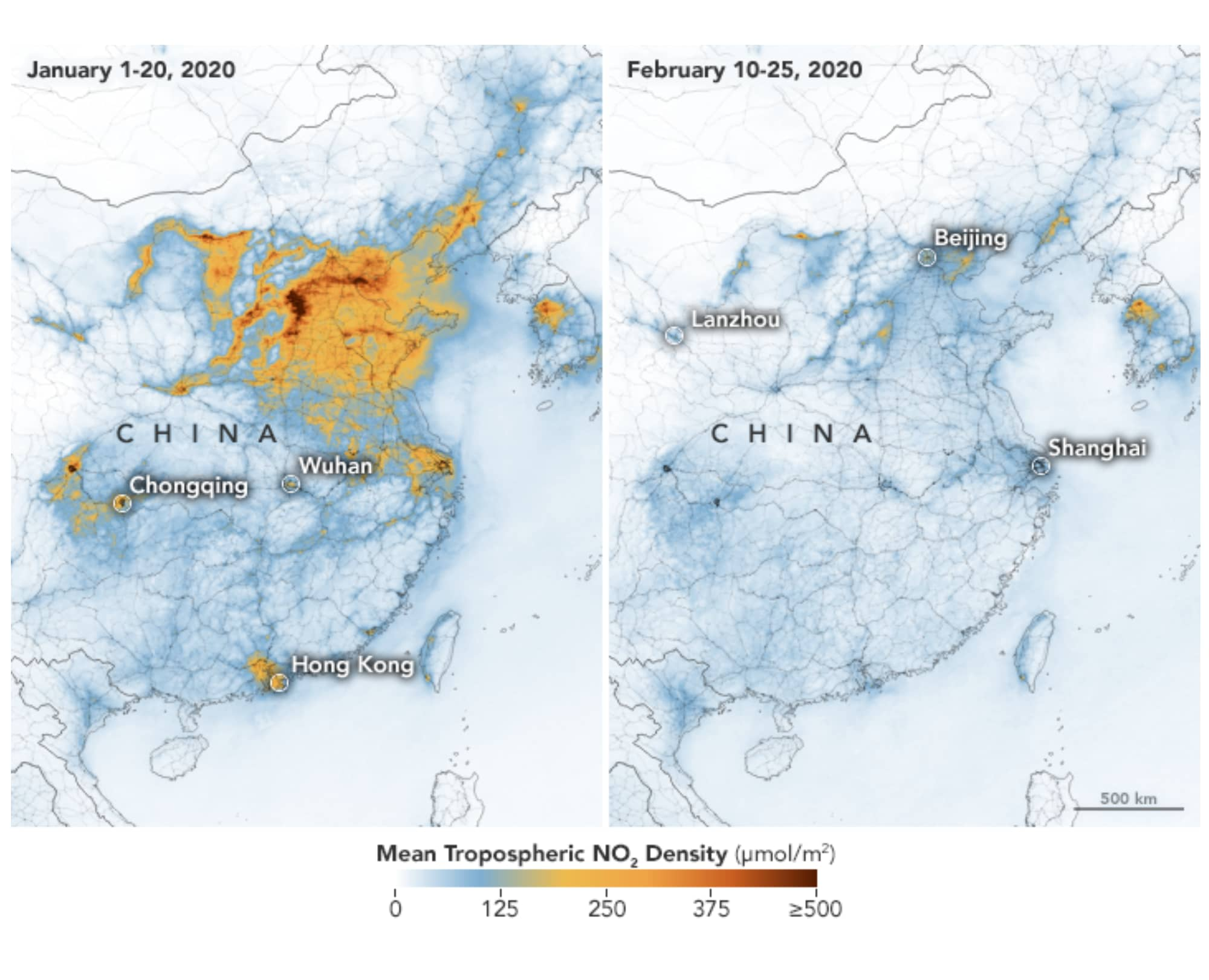 NASA images: China's air pollution decreased amid coronavirus measures