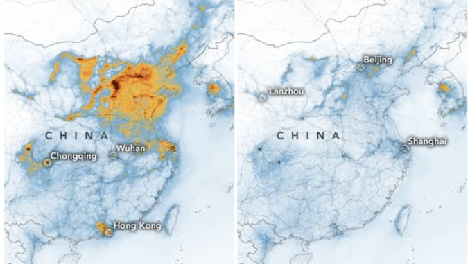 H/O: NASA Coronavirus pollution China map