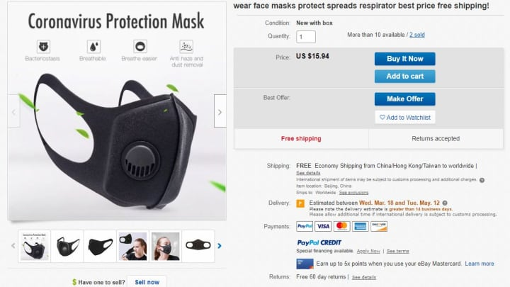 Ebay Bans Sales Of All Face Masks And Hand Sanitizers