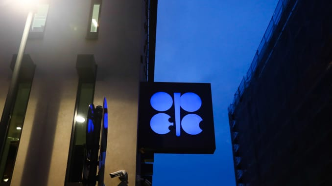 Organisation of the Petroleum Exporting Countries - OPEC logo is seen on the organisations' headquarters in Vienna, Austria.