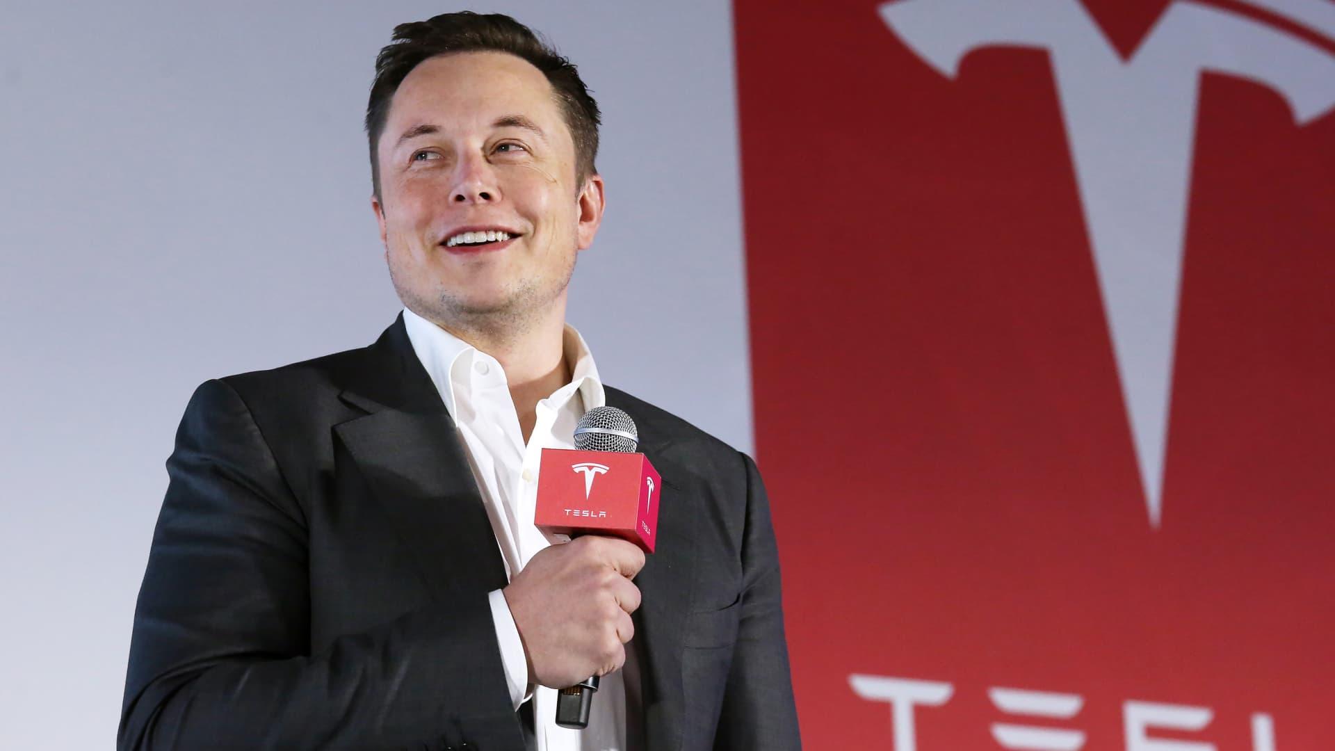 Tesla Motors CEO Elon Musk speaks to the media next to its Model S.