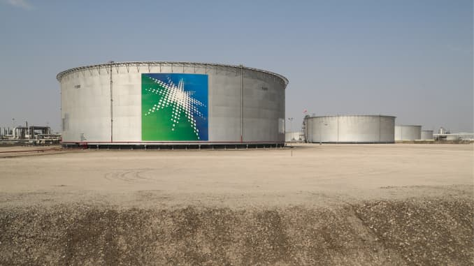 Oil tanks at an oil processing facility of Saudi Aramco, a Saudi Arabian state-owned oil and gas company, at the Abqaiq oil field.