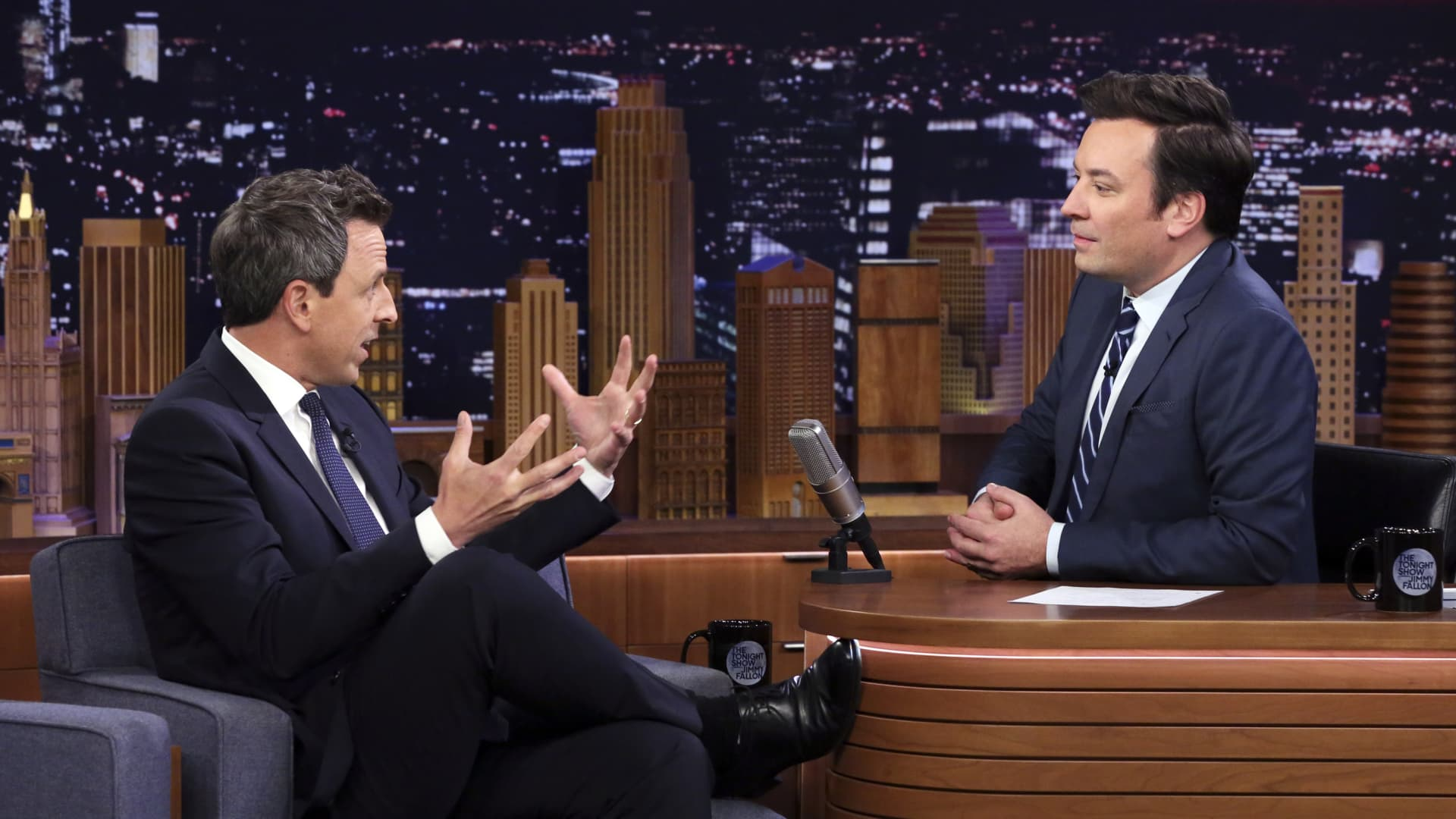 Comedian Seth Meyers during an interview with host Jimmy Fallon on November 18, 2019