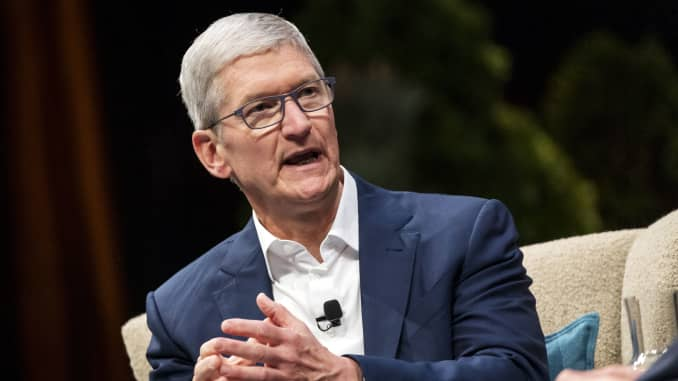 Tim Cook, chief executive officer of Apple, at the 2019 DreamForce conference in San Francisco, California, U.S., on Nov. 19, 2019.