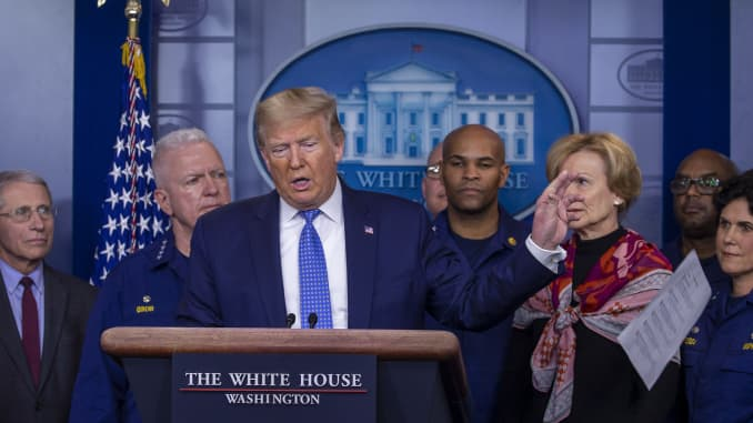 GP: President Trump Joins Coronavirus Task Force Press Conference At White House - 106444729