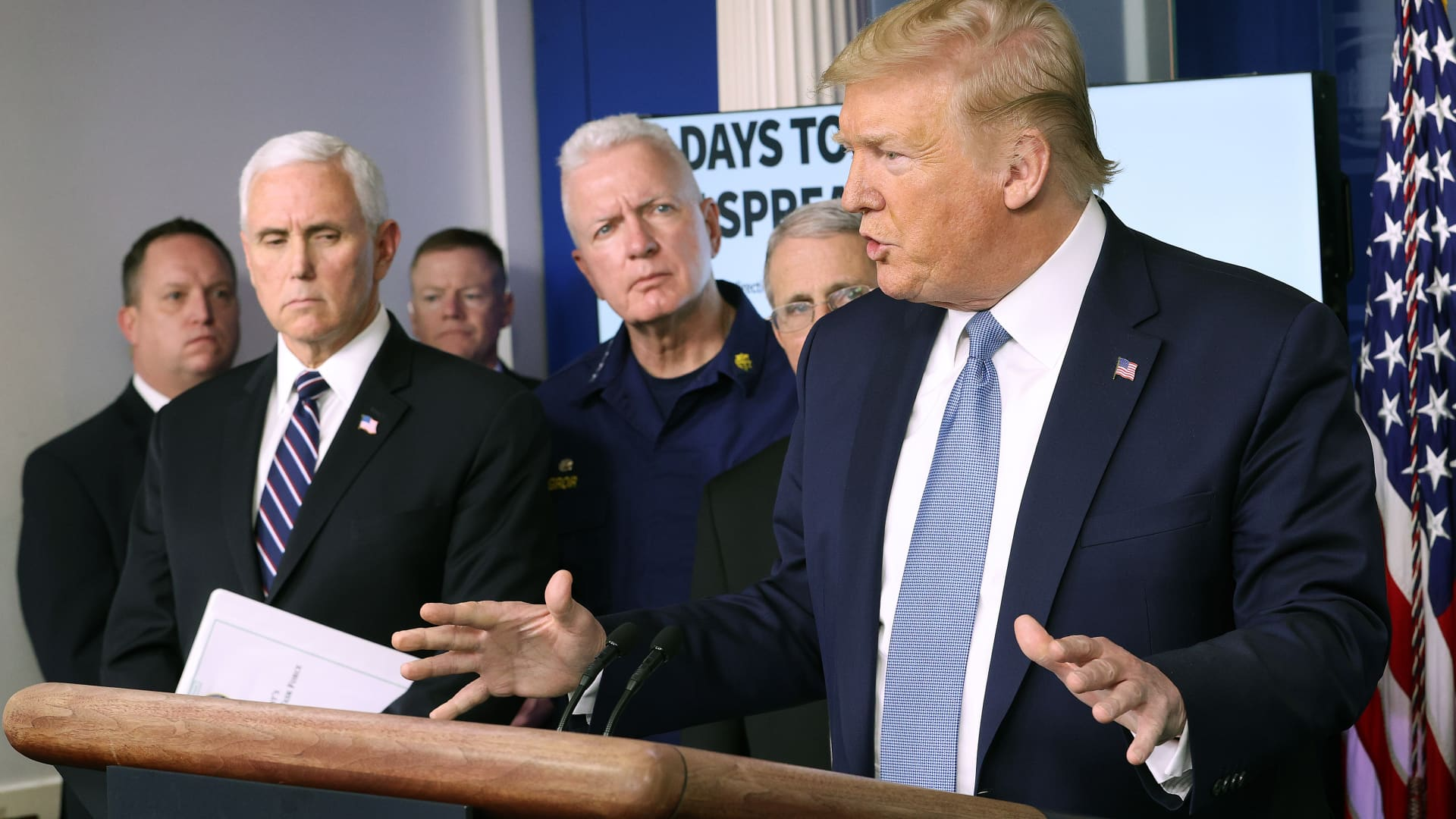 U.S. President Donald Trump is joined by members of the Coronavirus Task Force, while speaking about the Coronavirus, in the press briefing room at the White House on March 16, 2020 in Washington, DC.