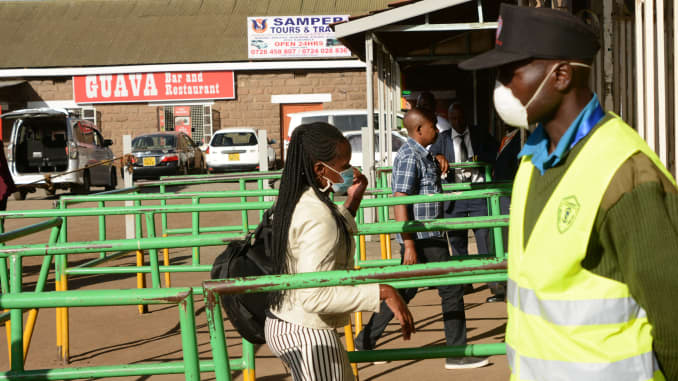 GP 200319: Commuters make their way into the Nairobi Train Station.