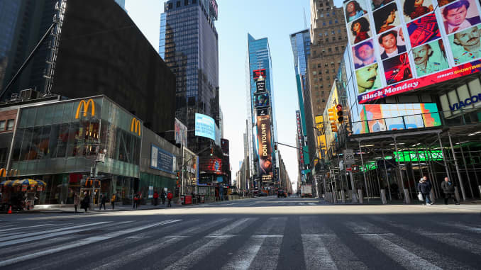 GP: Coronavirus Times Square New York City streets getting empty day by day