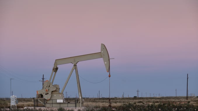 GP: US Pumpjack at Dusk in the Permian Basin