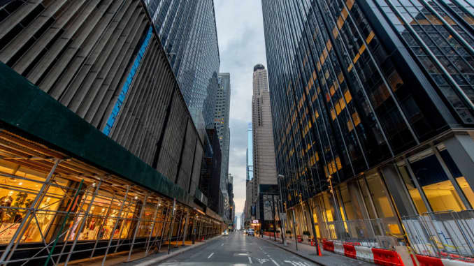 A view of the empty street at 54th street and 6th Ave in Midtown Manhattan in the wake of the coronavirus outbreak on March 20, 2020 in New York City.