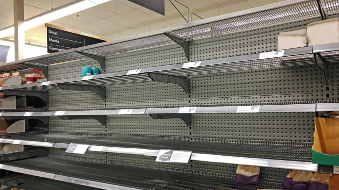 GP: Coronavirus, COVID-19 pandemic, empty supermarket shelves from panic buying