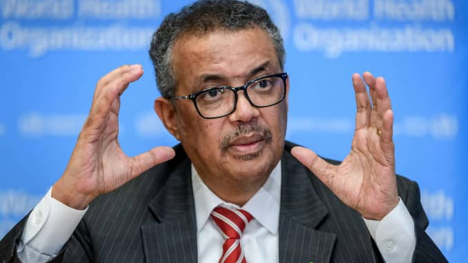 World Health Organization (WHO) Director-General Tedros Adhanom Ghebreyesus attends a daily press briefing on COVID-19, the disease caused by the novel coronavirus, at the WHO heardquaters in Geneva on March 11, 2020.