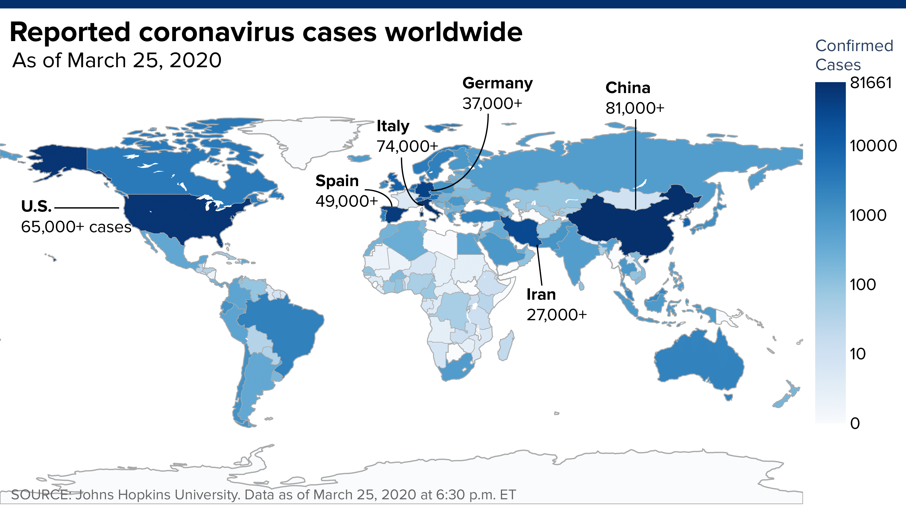 Worldwide coronavirus cases top 500,000, doubling in just over a week