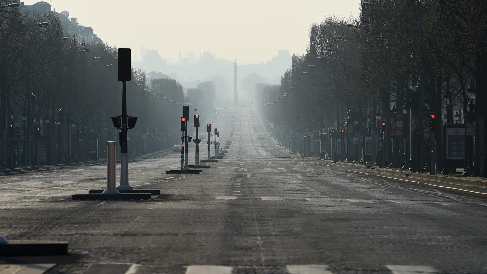 Empty Champs Elysees avenue is pictured on March 28, 2020 in Paris, France. The country has introduced fines for people caught violating its nationwide lockdown measures intended to stop the spread of COVID-19.
