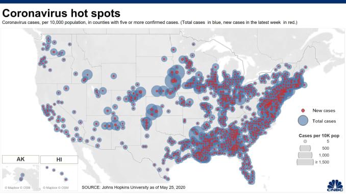 20200504 Coronavirus hot spots County flat 1000px