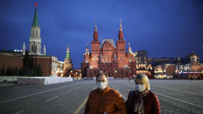 Moscow during non-working week declared by Russian President Putin