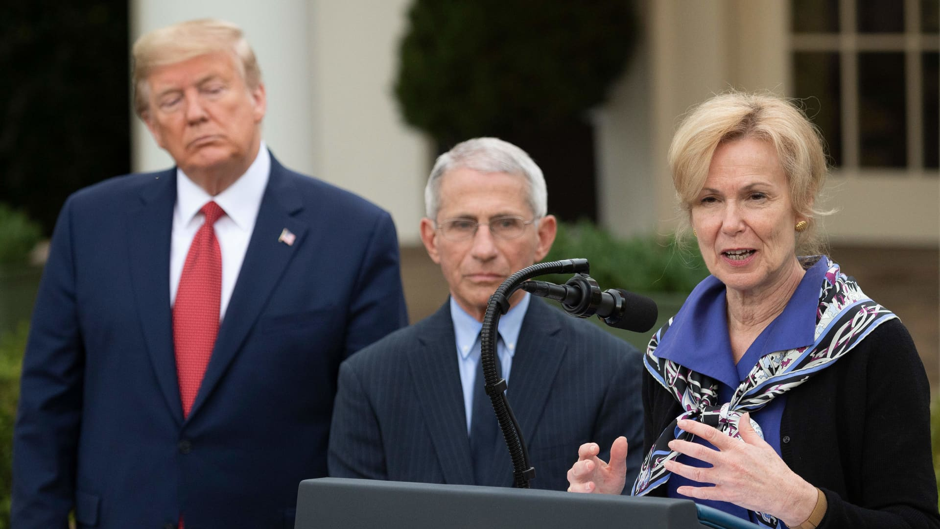 Coronavirus Response Coordinator Dr. Deborah Birx (R) speaks with US President Donald Trump and Director of the National Institute of Allergy and Infectious Diseases Dr. Anthony Fauci during a Coronavirus Task Force press briefing in the Rose Garden of the White House in Washington, DC, on March 29, 2020.