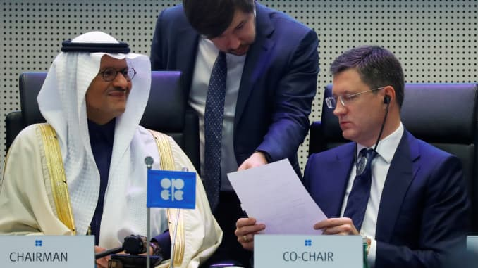 Saudi Arabia's Minister of Energy Prince Abdulaziz bin Salman Al-Saud and Russia's Energy Minister Alexander Novak are seen at the beginning of an OPEC and NON-OPEC meeting in Vienna, Austria December 6, 2019.