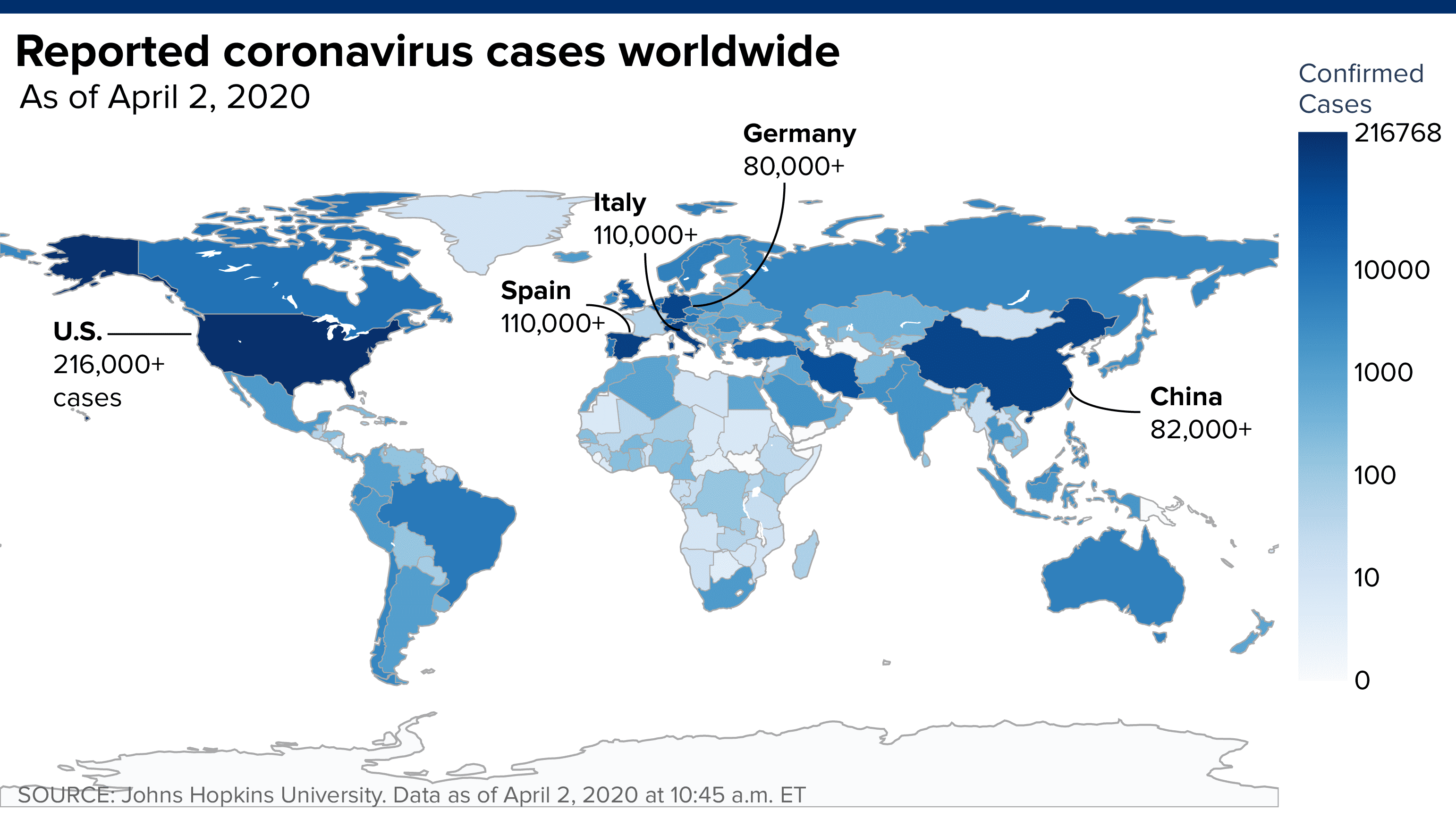Worldwide coronavirus cases reach 1 million, doubling in a week
