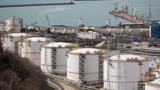 Oil storage tanks stand at the RN-Tuapsinsky refinery, operated by Rosneft Oil Co., in Tuapse, Russia, on Monday, March 23, 2020.