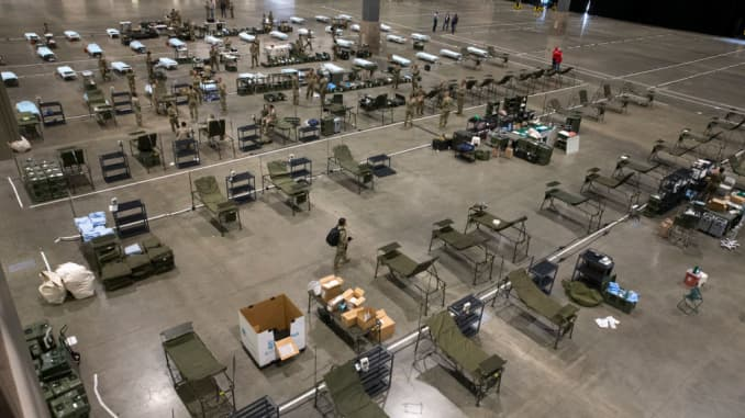 GP: Coronavirus: Temporary Field Hospital Seattle Washington Mobile Hospital Constructed At CenturyLink Convention Center In Seattle