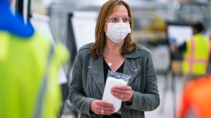 General Motors Chairman and CEO Mary Barra on April 1, 2020 tours one of the company's facilities in Warren, Michigan that will produce Level 1 face masks.