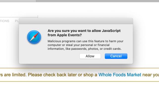 Javascript settings for Safari