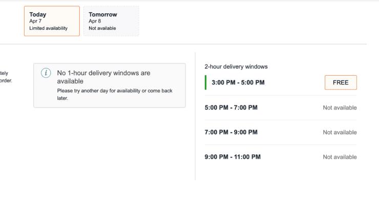 Amazon delivery windows